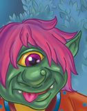 Cartoon of a green fairytale troll close up Royalty Free Stock Image