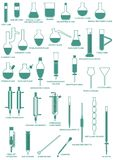 Vertical dos produtos vidreiros de laboratório ilustração royalty free