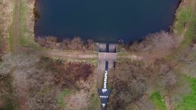 Vertical drone flight at the Eutersee stock video