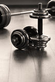 Vertical dumbells. For fitness on wooden floor Royalty Free Stock Images