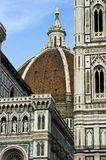 Vertical Duomo in Florence, Italy. A view of the Duomo roof top and portion of the church in Florence, Italy Stock Images