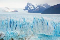 Vertical edge of glacier Perito Moreno. Steep slope of glacier Perito Moreno Glaciar Perito Moreno located in national park Los Glyacious. Patagonia, Argentina stock photos