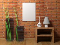 Vertical empty canvas hanging on the wall - 3D rendering. A vertical blank canvas is hanging on a red brick wall of a room having wooden pavement, some furniture Stock Image