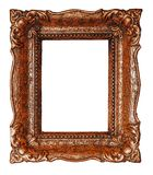Vertical empty copper picture frame with white background - Stock image. Vertical empty copper ornate picture frame with white background - Stock image design royalty free stock photos