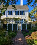 Vertical Exterior of Historic New England Home and Garden in Portsmouth, New Hampshire