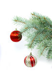 Vertical fir-tree branch with christmas decoration Stock Photos