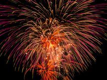 Colorful pyrotechnic fires. Vertical fireworks explode and fill the dark night sky with numerous colorful sparks that fill the sky with beautiful lines Stock Images