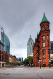 Vertical of The Flatiron building in Toronto, Canada Stock Photography