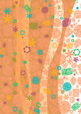Vertical floral backdrop. Abstract background in warm shades and with the floral ornate Stock Photography