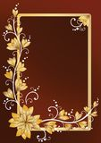 Vertical floral frame for text. Brown Stock Image