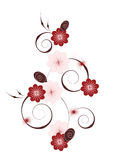 Vertical floral vignette. Decorative floral pattern in pink and brown scheme Stock Photo