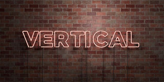 VERTICAL - fluorescent Neon tube Sign on brickwork - Front view - 3D rendered royalty free stock picture Stock Images