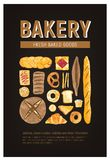 Vertical flyer or poster template with fresh bread, pastry, baked goods of various types and place for text on black. Background. Vector illustration for bakery vector illustration
