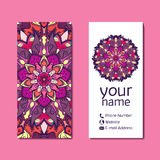 Vertical flyer template with mandala pattern. Vector illustration Stock Images