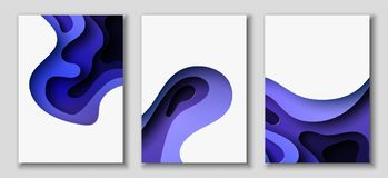 Vertical A4 flyers with 3D abstract background with paper cut blue waves. Vector design layout. Vertical A4 banners with 3D abstract background with blue paper Vector Illustration