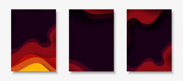 Vertical A4 flyers with 3D abstract background with paper cut shapes. Vector design layout. Vertical A4 banners with 3D abstract background with red, purple Royalty Free Illustration