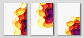 Vertical A4 flyers with 3D abstract background with paper cut shapes. Vector design layout. Vertical A4 banners with 3D abstract background with red, purple Royalty Free Stock Photography