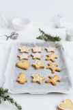 Vertical Food Scene of Festive Christmas Biscuits lined up on Baking Tray Royalty Free Stock Image