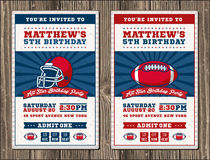 Vertical Football vector invite tickets Stock Photo