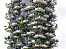 Vertical forest buildings in Milan, May 2015 Royalty Free Stock Images