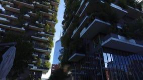 Vertical Forest, Milan, Porta Nuova skyscraper residences, Italy stock video