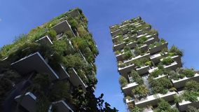 Vertical Forest, Milan, Porta Nuova skyscraper residences, Italy stock video footage