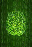 Vertical format background numbers and brain sketch, abstract VECTOR in green color. Stock Photos