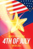 Vertical format Flyer Celebrate Happy 4th of July - Independence Day. Mega sale and hot discounts with a star and a realistic flam. E of fire. National American vector illustration