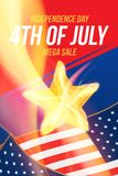 Vertical format Flyer Celebrate Happy 4th of July - Independence Day. Mega sale and hot discounts with a star and a realistic flam. E of fire. National American royalty free illustration