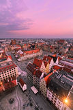 Vertical foto. View on the market square of Wroclaw Royalty Free Stock Photography