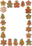 Vertical frame of colorful gingerbread cookies Stock Photo