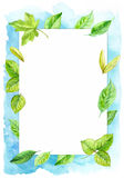 Vertical frame made of various leaves in watercolor On a blue background. Hand-painted design elements. Royalty Free Stock Photography