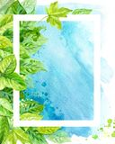 Vertical frame made of various leaves in watercolor On a blue background. Hand-painted design elements. Stock Image