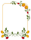 Vertical frame with red and yellow roses. Stock Photo