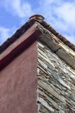 Vertical frame shoot of masonry building roof corner with blue open sky background. Photo was taken in one of the most beautiful cities in Turkey, Tire stock photography