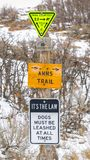 Vertical frame Various trail signs and dog leash sign on an old wooden post. The sign is on a mountain with leafless trees and covered with powdery snow in stock image
