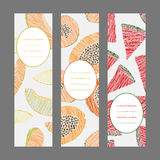 Vertical Fruit Banners. Illustration. Scratched Papaya, melon and watermelon invitations. Stock Photo