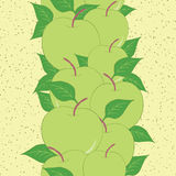 Vertical fruit seamless hand drawn border with green apples and leaves. Stock Photo
