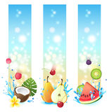 3 vertical fruits banners. 3 vertical banners with fruits in splashes Stock Images