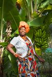 The vertical full body of a joyful African American woman wearing a bright colorful national dress poses in the garden. Near a banana tree. Traditions and royalty free stock image
