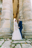 The vertical full-length phot of the newlyweds holding hands between ancient gothic columns. Royalty Free Stock Image