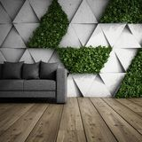 Vertical garden in modern interior. Sofa in modern interior with concrete wall of blocks and vertical garden. 3D illustration Stock Photography