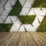 Vertical garden in modern interior. Wall in modern interior with concrete blocks and vertical garden. 3D illustration Stock Images