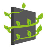 Vertical garden 3. Simple vertical garden icon with leaves Stock Photography