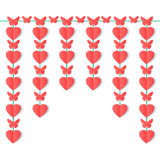 Vertical garland of paper hearts and butterflies isolated on white background. Stock Image