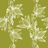 Vertical Garlands Floral Line Art Seamless Pattern Royalty Free Stock Photo