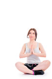 Vertical girl photo in lotus position Royalty Free Stock Image