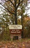 Glade Top Trail Missouri sign, National Forest USA ,fall stock photography