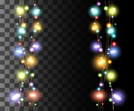 Vertical glowing light colorful bulbs design for holidays garlands christmas decorations effect isolated on the transparent backgr. Ound website page game and stock illustration