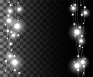 Vertical glowing light silver bulbs design for holidays garlands christmas decorations effect isolated on the transparent backgrou. Nd website page game and Royalty Free Stock Photo